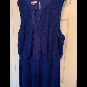 Royal Navy blue lace maxi dress- sleeveless